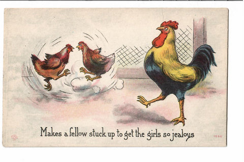 THREE (3) ROOSTER HEN & CHICKS COMIC POSTCARDS 1900'S VINTAGE