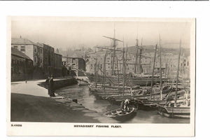 COMMERCIAL FISHING RPPC POSTCARD. MEVAGISSEY FISHING FLEET GREAT BRITAIN ENGLAND