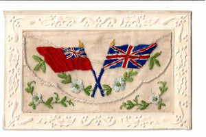 EMBROIDERED SILK PATRIOTIC MILITARY WWI POSTCARD (1914-18) FLAGS OF THE UNION JACK