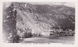 BRIDGE RIVER, BC, B.C. Electric, power plant and hillside, AWA  Phair photo, RPPC, 1957