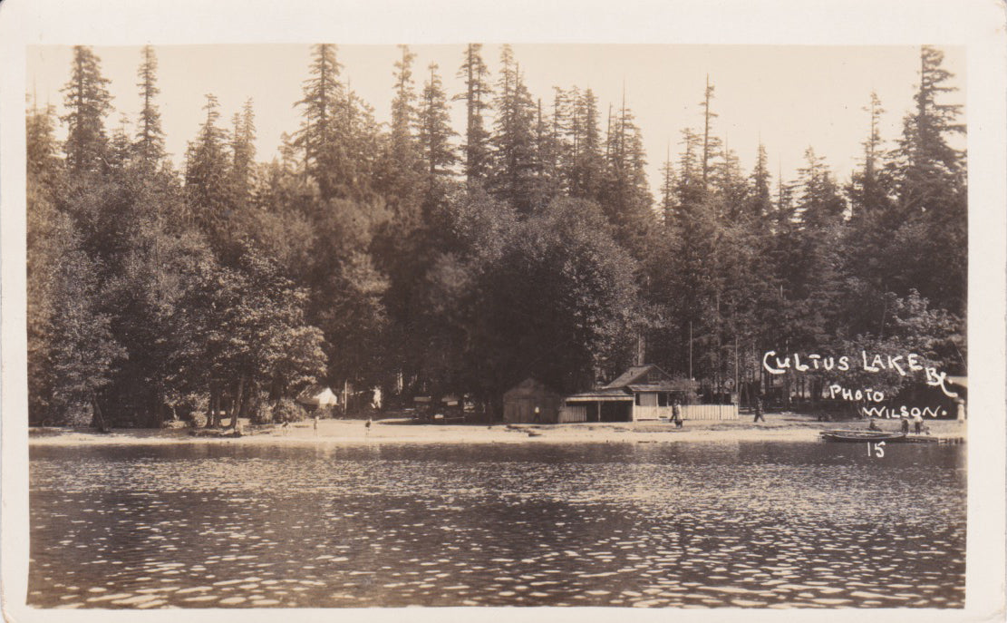 Cultus Lake Park, BC, beach scene, Wilson photo, RPPC, nd