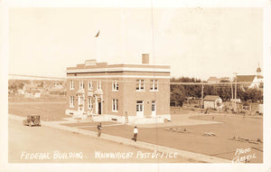 Wainwright, AB. 1920's Post Office. RPPC Postcard. Canada