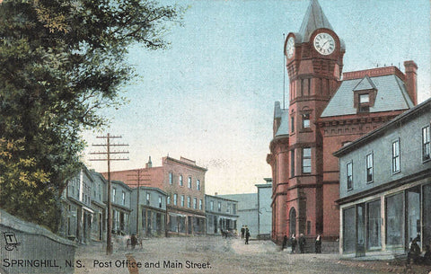 Springhill, NS. Post Office And Clock Tower. Postcard. Canada