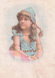 "DRUGIST AND DEALERS MULTI COLORED TRADE CARD ""HAINES COUGH SYRUP"" YOUNG GIRL IMAGE U.S."