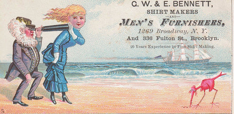 "BROOKLYN N.Y. MULTI COLORED TRADE CARD 1800'S ""MENS SHIRTS FURNISHERS"" U.S."