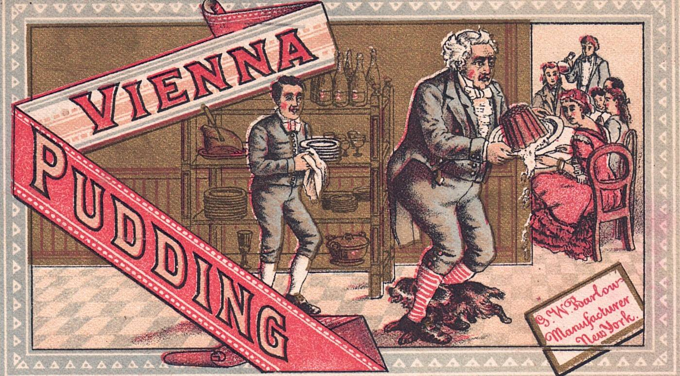 "NEW YORK MANUFACTURES G.W. BARLOW MULTICOLORED TRADE CARDS ""VIENNA PUDDING"" U.S."