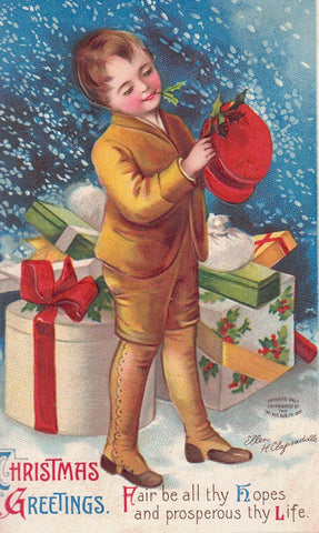 CHRISTMAS GREETING POSTCARD SIGNED ELLEN CLAPSADDLE 1910'S