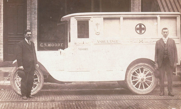 DOCTORS, NURSES, PARAMEDICS VINTAGE RPPC POSTCARD AMBULANCE WITH RED CROSS AND TWO MEN POSING FOR PHOTOGRAPH