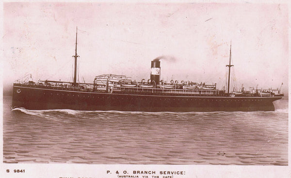"PACUEBOT POSTED AT SEA, STEAMSHIP ""BALLARAT"" RPPC POSTCARD TO ENGLAND ""INSUFFIENTLY PAID"" POSTAGE DUE"