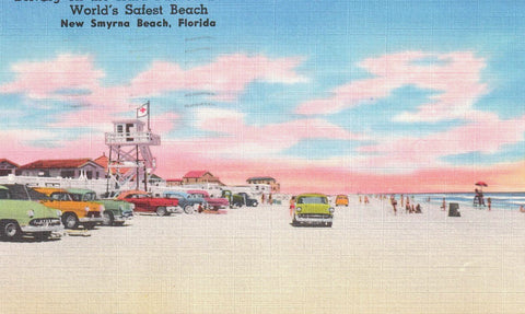 NEW SAMYRNE BEACH FLORDIA DRIVING ON THE HARD PACKED SANDS OF FL. 1950'S U.S LINEN POSTCARD