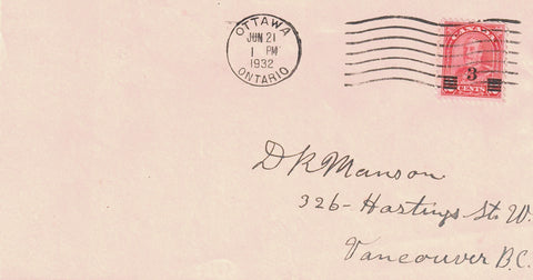 #191 ARCH ISSUE FDC COVER OTTAWA JUNE 21 1932 TO VANCOUVER BC CANADA