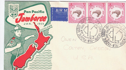 BOY SCOUTS JAMBOREE AUCKLAND N.Z. JANUARY 1959 PAN PACIFIC MULTI COLOURED CACHET