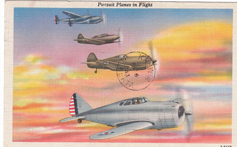 FOUR OF THE FIGHTING U.S MILITARY AIRCRAFT INFORMATION. LINEN AIRPLANE POSTCARD