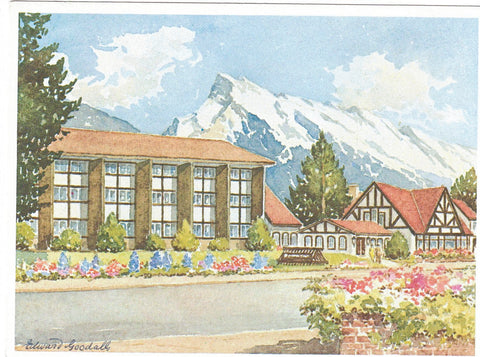 "EDWARD GOODALL ARTIST ""THE HOME"" STEAD AND DINING ROOM BANFF ALBERTA MULTI COLOURED CONTINENTAL SIZE POSTCARD CANADIAN ROCKIES"