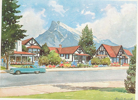 "EDWARD GOODALL ARTIST ""HOMESTEAD"" HOTEL AND RESTAURANT BANFF ALBERTA MULTI COLOURED CONTINETAL SIZE POSTCARD CANADIAN ROCKIES"