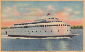 MOTOR FERRY KALAKALA X2 LINEN POSTCARDS (DIFFERENT) THE WORLD FIRST STREAMLINED FERRY BOAT SHIP HOLDS 2,000 PASSANGERS