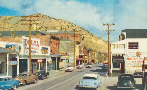VIRGINA CITY NEVADA STREET VIEW 1950'S & 40'S CARS AUTOMOBILES DELTA SALOON BUCKET OF BLOOD U.S. CHROME POSTCARD