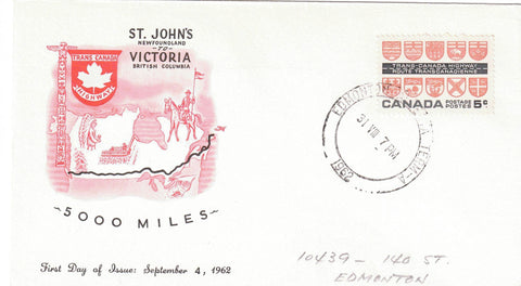 "BARREL CANCEL EDMONTON AB. AUG 31 1962 FDC COVER ""TRANS CANADA HIGHWAY"""