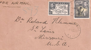FIGI NADROGA 1948 AIR MAIL COVER TO LAUTOKA FIGI B/S