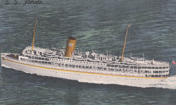 S.S FLORDIA NASSAU P&O STEAM SHIP CO. US. LINEN SHIP POSTCARD