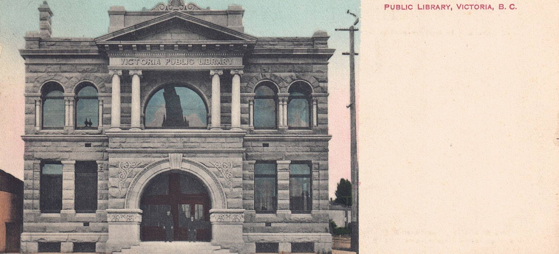 "GAURANTEED HAND-COLOURED EXTENDED POSTCARD ""PUBLIC LIBRARY VICTORIA BRITISH COLUMBIA BC CANADA"