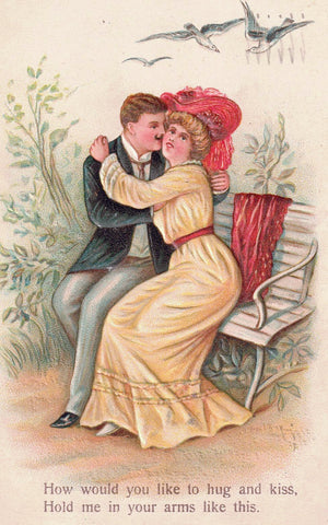 ROMANCE UGS AND KISSES EMBOSSED GREETING 1900'S POSTCARD