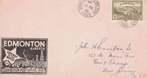 EXHIBITION EXPOSITION EDMONTON AB. 1948 POST OFFICE SINGLE FRANKING #269 (PEACE ISSUE) ON COVER CROSS BORDER TO U.S.