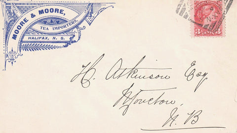 TEA IMPORTERS MOORE AND MOORE ILLUSTRATED HALIFAC N.S 1895 SQ CIRCLE SMALL QUEEN CANADA COVER B/S