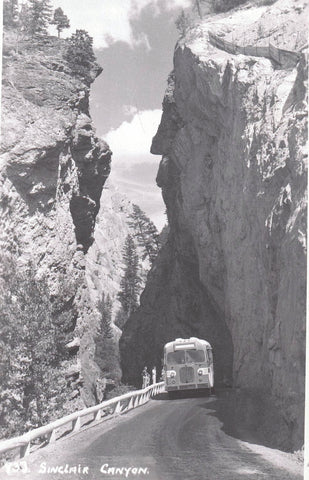 #933 SINCLAIR CANYON WITH 1940'S BUS RPPC POSTCARD BYRON HARMON BANFF ALBERTA AB. CANADA
