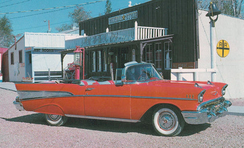 CONVERTABLE 1957 CHEVROLET BELAIR FACTORY PRICE OF CAR $2,511 CHROME POSTCARD