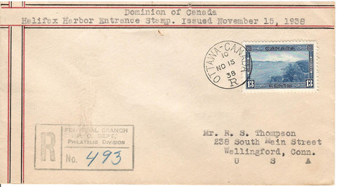 FDC COVER #243 OTTAWA NOV 15 1938 REGISTERED CROSS BORDER TO U.S. B/S HALIFAX HARBOR