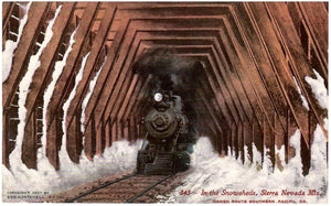 RAILWAY LOCOMOTIVE IN THE SNOWSHEDS SIERRA NEVADA US. POSTCARD