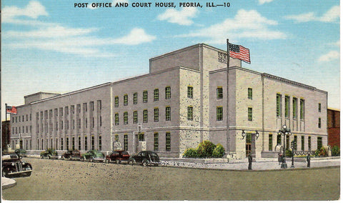 POST OFFICE AND COURT HOUSE 1930'S PEORIA ILLINOIS U.S. LINEN POSTCARD IL