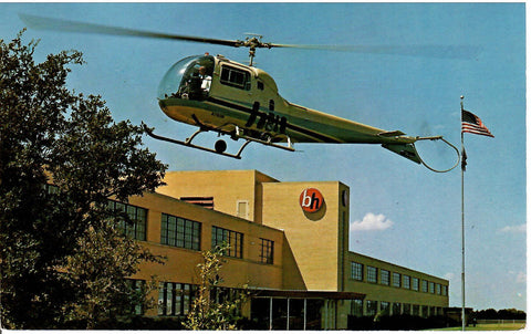 HELICOPTER CHROME POSTCARD HURST TEXAS HIGHWAY 183 BELL HELICOPTERS FOR MILITARY AND BUSINESS USE