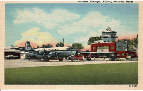 PORTLAND MUNICIPAL AIRPORT PORTLAND MAIN NORTHERN AIRLINES U.S. LINEN POSTCARD