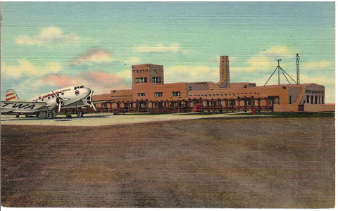 ADMINISTRATION BUILDING MUNICIPAL AIRPORT ALBUQUERQUE NEW MEXICO U.S. LINEN POSTCARD N.M
