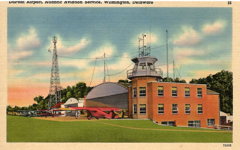 DUPONT AIRPORT ATLANTIC AVATION SERVICE WILMINGTON DELAWARE 1940'S U.S. LINEN POSTCARD