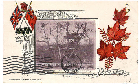 PATRIOTIC POSTCARD INDIGENOUS GRAVES BLOOD RESERVE BC BRITISH COLUMBIA 1906 TO U.S. N.Y