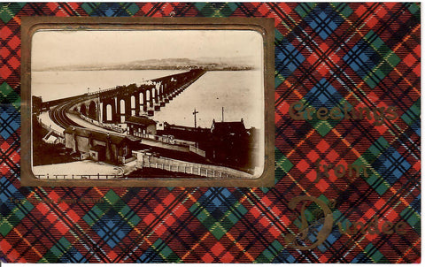 "TARTAN PATRIOTIC TYPE POSTCARD REAL PHOTO \'GREETINGS FROM DUNDEE"" GREAT BRITAIN"