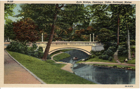 ARCH BRIDGE DEERINGS OAKS PORTLAND MAINE U.S. LINEN POSTCARD
