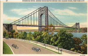 RIVERSIDE DRIVE GEORGE WASHINGTON BRIDGE AND HUDSON RIVER N.Y. NEW YORK U.S. LINEN POSTCARD