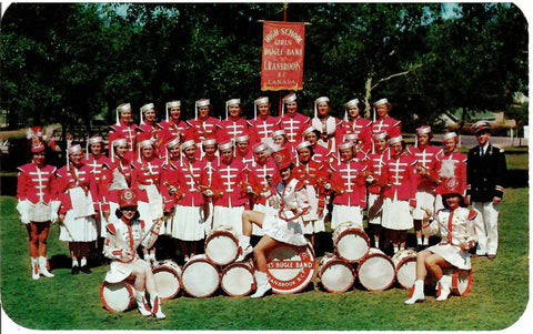 BUGLE BAND CRANBROOK BC HIGH SCHOOL EARLY 1950'S TROPHY WINNER CANADA CHROME POSTCARD
