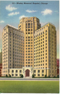 WESLEY MEMORIAL HOSPITAL CHICAGO ILLINOIS U.S. LINEN POSTCARD IL.