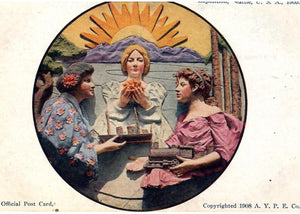ALASKA YUKON PACIFIC EXPOSITION POSTCARD SEATTLE WASHINGTON U.S. 1908 THREE (3) WOMEN A TRAIN SHIP AND HANDS TOGETHER