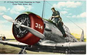 U.S. MILITARY AIRCRAFT AIRPLANE POSTCARD AT CRAIG FIELD SELMA ALABAMA TRAINING SCHOOL