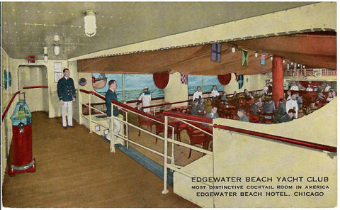 EDGEWATER BEACH YACHT CLUB CHICAGO ILLONOIS INTERIOR COCKTAIL ROOM U.S POSTCARD