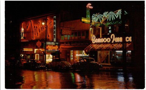 VANCOUVER BC. CHINATOWN NIGHT SCENE RESTAURANTS CARS SIGNS CHROME 1960'S POSTCARD CANADA