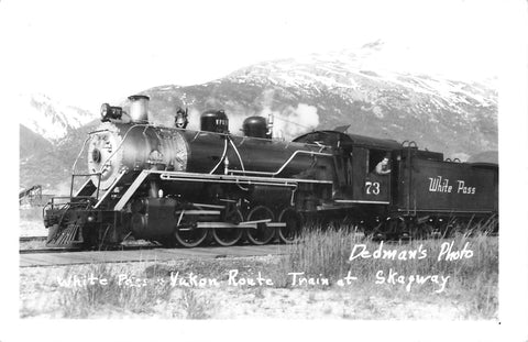 Skagway, AK. Locomotives Run Through Whitepass Yukon Route. Two USA RPPC Postcards
