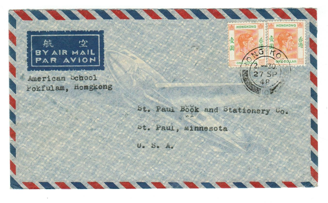 Hong Kong, Pokfulam 1948 Air Mail Cover American School U.S.