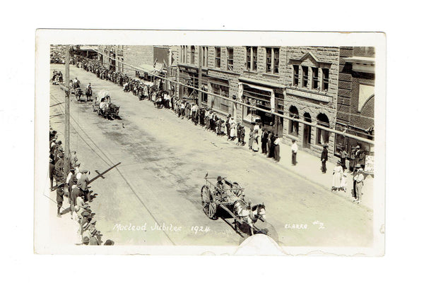 Macleod, AB. RPPC Postcard. 1924. Macleod Jubilee Parade. Clarke Photo. Canada.